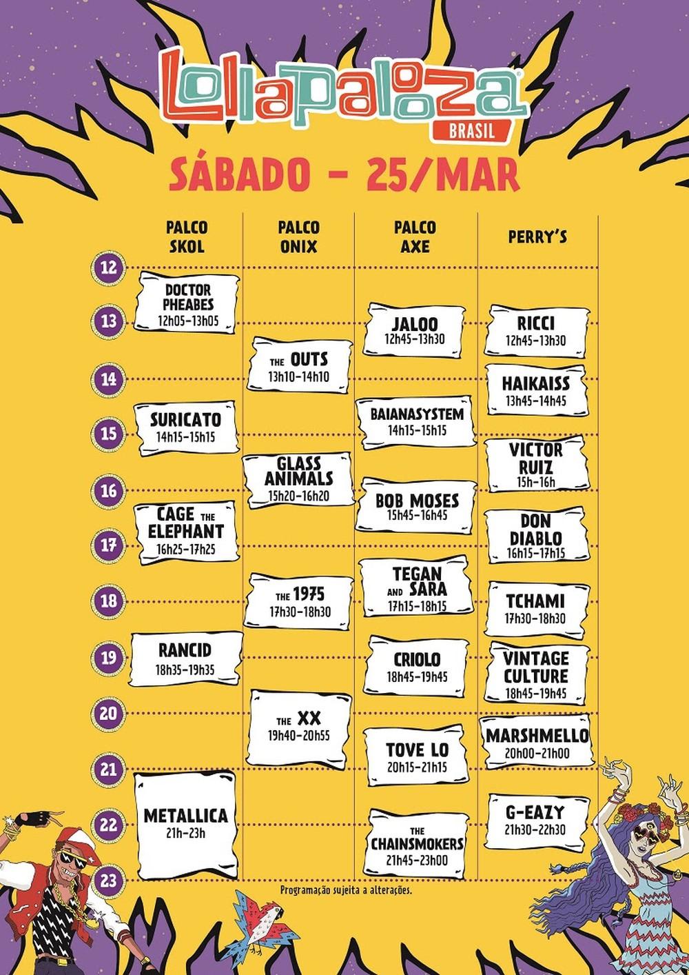 Resultado de imagem para Lollapalooza divulga programação com horários das atrações